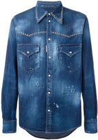 DSQUARED2 studded distressed Western shirt - men - Cotton/Spandex/Elastane/Aluminium - 44