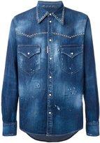 DSQUARED2 studded distressed Western shirt - men - Cotton/Spandex/Elastane/Aluminium - 48