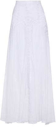 Charo Ruiz Ibiza Zuri Crocheted Lace-trimmed Cotton-blend Voile Maxi Skirt