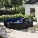 Tegan 11 Piece Sectional Seating Group with Cushions Sol 72 Outdoor Cushion Color: Navy