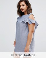 AX Paris Plus Chambre Dress With Cold Shoulder And Ruffle Detail