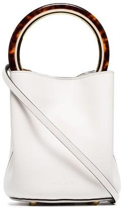 Marni white Panier resin handle leather bucket bag