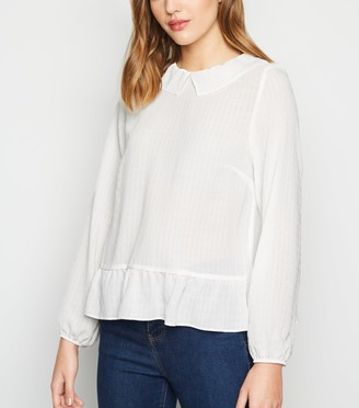 New Look Textured Collared Peplum Blouse
