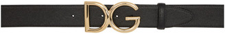 Dolce & Gabbana Black Dauphine Logo Belt