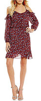 Sugar Lips Sugarlips Cold Shoulder Floral Print Shift Dress