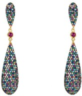 Latelita Coco Long Drop Earrings Multicoloured Gold