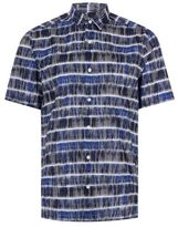 Topman Blue Tile Stripe Short Sleeve Casual Shirt