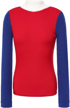 Emilia Wickstead Harry Color-block Ribbed Merino Wool Sweater