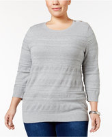 Karen Scott Plus Size Solid Textured Sweater, Only at Macy's