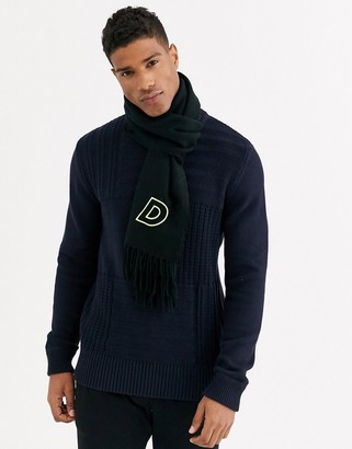 ASOS DESIGN personalised scarf in black with embroidered 'D' inital
