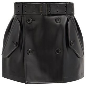 Junya Watanabe Belted Faux-leather Mini Skirt - Black