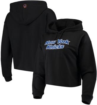 Women's Black New York Knicks Velour Cropped Pullover Hoodie