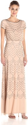 Adrianna Papell Women's Short Sleeve Blouson Beaded Gown