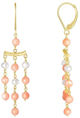 Overstock 14K White Pearl Coral 3 Row Leverback Earring - Multi