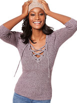 New York & Co. Marled Lace-Up Ribbed Sweater
