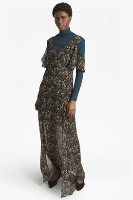 French Connection Hallie Crinkle Floral Cold Shoulder Maxi Dress