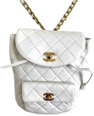 Chanel White Leather Backpacks