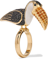 Noir Gold-plated crystal and enamel ring
