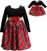 Dollie & Me Girls 4-14 Long Sleeve Plaid & Velvet Bow Dress