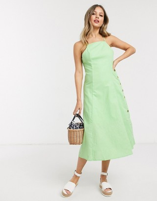 Gilli square neck midi dress in lime green