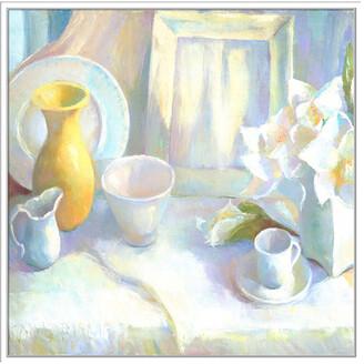 Jonathan Bass Studio Winter White, Decorative Framed Hand Embellished Canvas