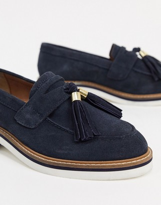 ASOS DESIGN Mist suede tassel loafer in navy