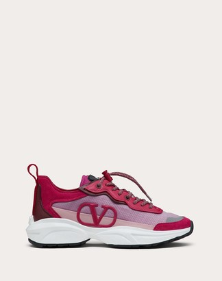 Valentino Shegoes Sneaker In Split Leather And Mesh Technical Fabric Women Blossom 100% Poliammide 37
