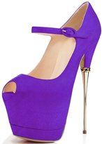 YDN Women Peep Toe Shoes Sky High Heels with Platform Pumps Ankle Strappy Stiletto 9