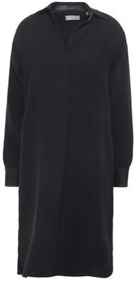 Vince Faux Leather-trimmed Crepe Mini Shirt Dress