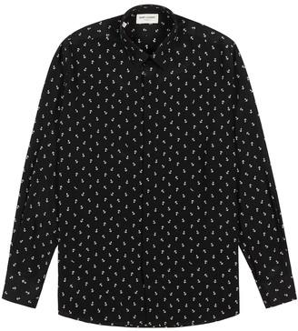 Saint Laurent Black anchor-print silk shirt