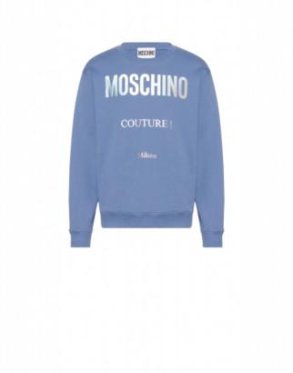 Moschino Cotton Sweatshirt Holographic Logo