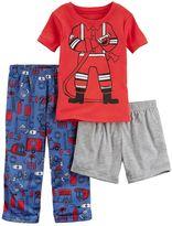 "Carter's Toddler Boy Fireman"" Tee, Printed Pants & Solid Shorts Pajama Set"