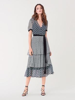 Diane von Furstenberg Naomi Chiffon-Blend Tiered Midi Dress