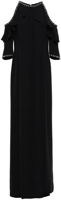 Jenny Packham Embellished Cold-shoulder Ruffled Stretch-crepe Gown
