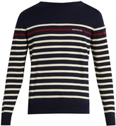 Moncler Logo-printed striped cotton-knit sweater