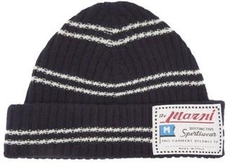 Marni Logo-label Striped Wool-blend Beanie - Navy
