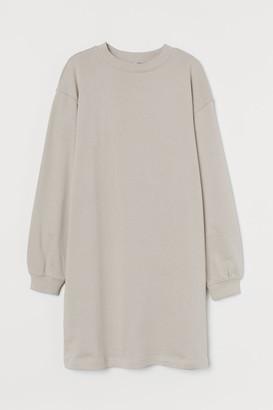 H&M Short Sweatshirt Dress - Brown