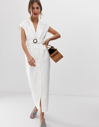 Asos Design DESIGN denim maxi shirt dress with belt and open back detail-White