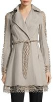 Elie Tahari Kathy Lace Inset Trench Coat