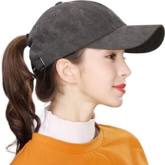 Tucker Jeff & Aimy Ladies Ponytail Messy Bun Baseball Caps Plain Cotton Sports Golf Running Dad Hat Adjustable Dark Grey