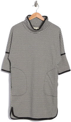 Max Studio Houndstooth Mock Neck Knit Dress