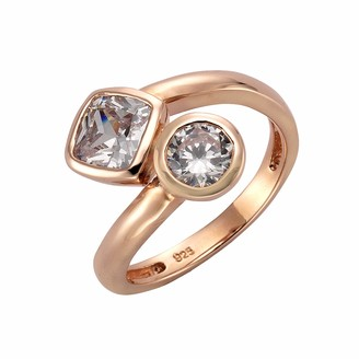 Celesta ZEEmeSilver Women's Ring 925 Sterling Silver Partially Gold-Plated with White Zirconia - 360271748RV Brilliant Cut red