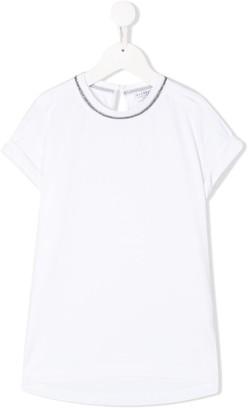 BRUNELLO CUCINELLI KIDS bead-trimmed short-sleeved T-shirt