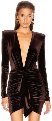 Alexandre Vauthier Velvet Jersey Bodysuit in Chocolate | FWRD