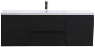 """Bathroom Vanity Wholesale MOF 60"""" Single Sink Wall Mounted Bathroom Vanity, Black"""