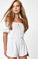 La Hearts Off-The-Shoulder Crochet Romper