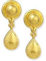 Elizabeth Locke 19k Gold Dome & Pear Drop Earrings