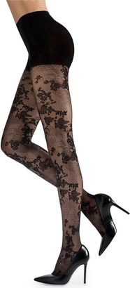 Natori Scarlet Lace Sheer Floral-Pattern Control-Top Tights