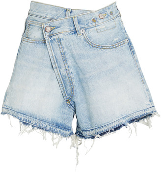 R 13 Crossover Distressed Denim Shorts
