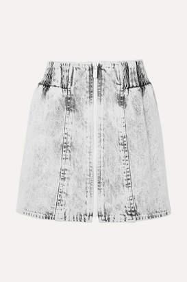 Miu Miu Printed Denim Mini Skirt - Gray